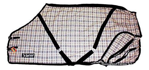 (our own DA Brand The Racetracker Black and Tan Plaid Cotton Blend Stable Sheet 76