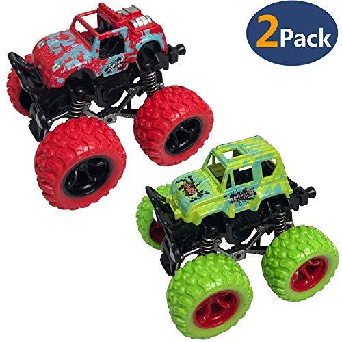 Toy Trucks - Pack Of 2, Etoytoy Four Wheel Toy Cars | Pull Back Vehicles, Durable Monster Pullback Racer Cars Toys For Boys, Best-Gift for Kids