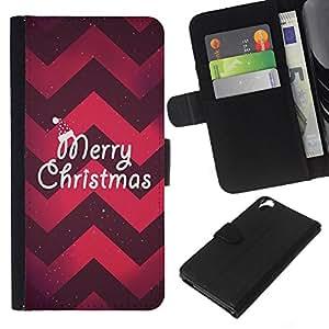 [Neutron-Star] Modelo colorido cuero de la carpeta del tirón del caso cubierta piel Holster Funda protecció Para HTC Desire 820 [Navidad Chevron rojo púrpura de Navidad]