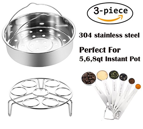 Instant Pot Steamer Basket Accessories, Fits Instant Pot 5, 6, 8 Quart Pressure Cooker With Measuring Spoons and Egg Steaming Holder Rack, Stainless Steel 3 Packs