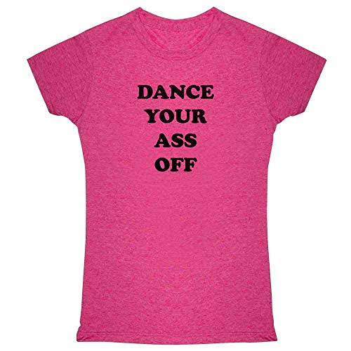 Dance Your Ass Off Retro 80s Halloween Costume Heather Fuchsia L Womens Tee ()