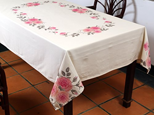 Table Cloth, Rectangular 60x90 inches Table Cloth, 100% Cotton, Machine Washable clothes, Unique Design Romeo & Juliet by Mayfluers (Scroll Silver International Modern)