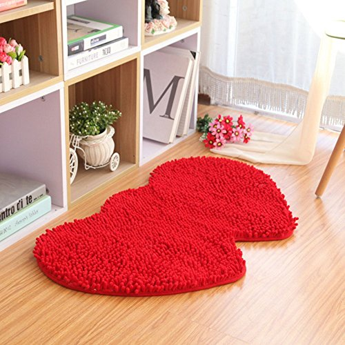 (YX-YAMI Chenille double heart rugs,super soft anti-skid area rugs carpet, Bathroom, bedroom, stairs and new home floor decorations (Red))