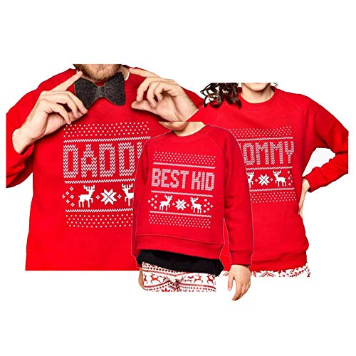 Reindeer Christmas Family Matching Snowflake Sweatshirt Top Shirt for Mom Women -