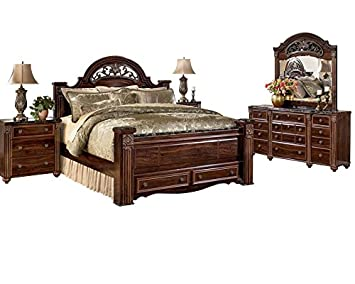 signature design by ashley gabriela bedroom set with king bed nightstand dresser and mirror
