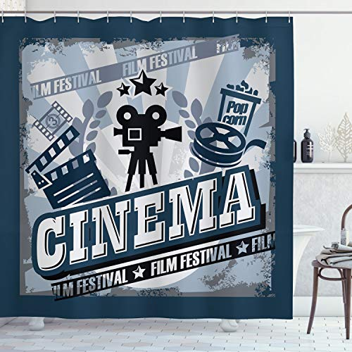Ambesonne Movie Theater Shower Curtain, Vintage Cinema Poster Design with Grunge Effect and Old Fashioned, Cloth Fabric Bathroom Decor Set with Hooks, 75