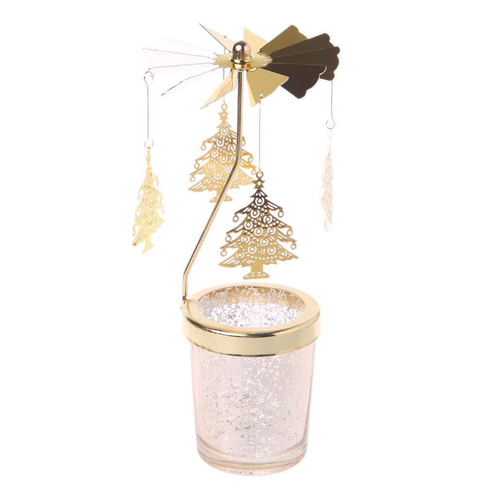 GROOMY Candle Holder Xmas Rotating Spinning Carousel Tea Light Center Home Decor Ornament Gifts - Rose