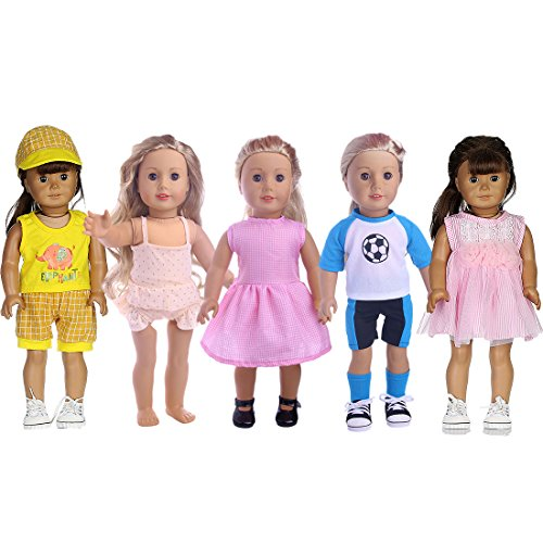 5 Daily Casual Clothes/Outfits for 18-Inch Doll American Girl Doll Accessories Set Fits for My Life Doll,Our Generation and other 18'' Dolls