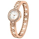 Gorgeous rose gold tone bangle/cuff ladies watch with beautiful mother of pearl dial and cut out flower band