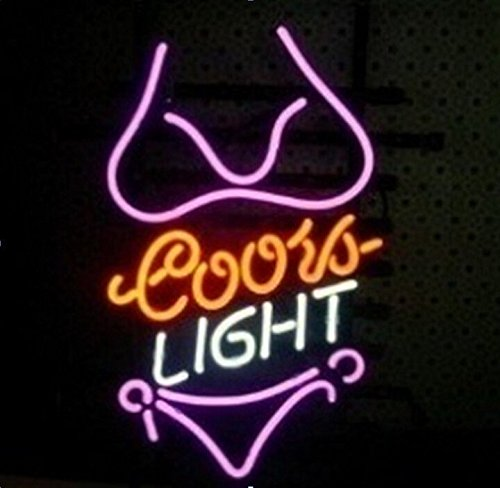 Bikini Girl Purple Logo Neon Sign18''X14'' B1A(Ship from CA with FREE USPS Priority Mail or UPS)