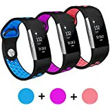 for Fitbit Charge 2 Bands Hanelsi Replacement Accessory Sport Band for Fitbit Charge 2 HR Black 3-PCS
