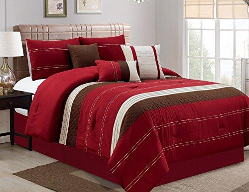 Circles King Comforter Set (Luxury 7 Piece Comforter Set, Red, Cal King)