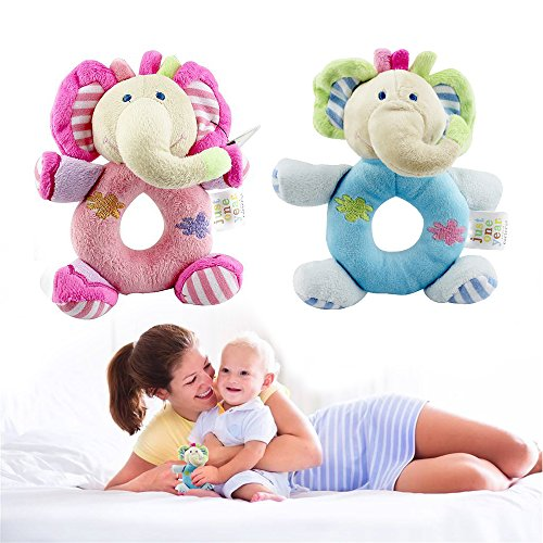 - First Birthday Gifts Ideas for one year old baby, Twins Animals Rattle - The Best Stuffed Teddy for Boy & Girl, Kids's Christmas Plush Animal Bear Toys, Toddler's Elephant Toy - Top Xmas Gift