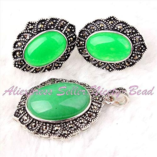 Pukido Pretty Oval Beads Gem Stone Marcasite Tibetan Silver Classical for Fashion Pendant Earrring 22x26mm/25x35mm 1 Set - (Color: Jade)