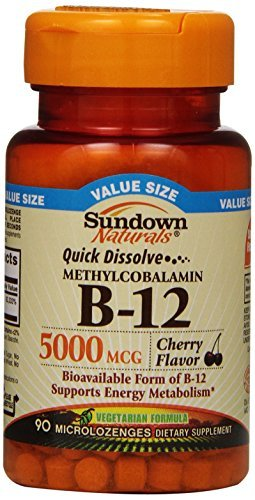 Sundown Naturals Quick Dissolve Methylcobalamin B-12 Microlozenges Cherry 90 EA - Buy Packs and SAVE (Pack of 3) by Sundown Naturals