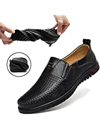 Men's Leather Shoes Slip on Casual Loafers Driving Moccasin Shoes