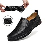 Sanyge Men's Leather Shoes Slip on Casual Loafers Driving Moccasin Shoes(Sanyge1858Hole-Black46)