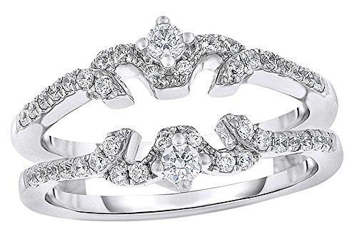 AFFY White Natural Diamond Butterfly Design Enhancer Ring in 14K White Gold (0.5 cttw) ()