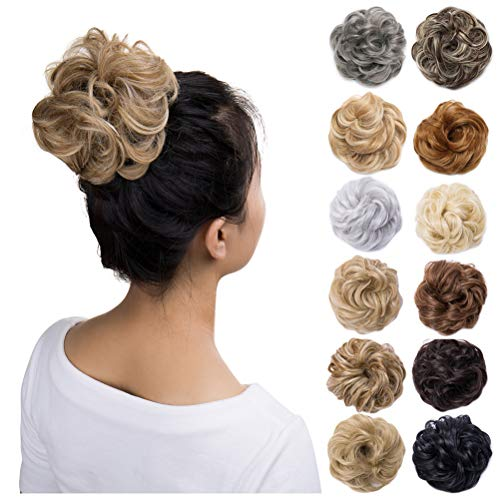 (Scrunchy Updo Hair Bun Clip Messy Donut Chignons Synthetic Wavy Straight Hairpiece Hair Extension (light ash brown & bleach blonde, 1PC))