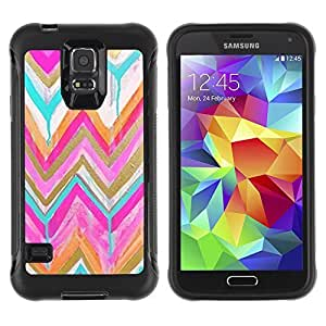 KROKK CASE Samsung Galaxy S5 SM-G900 - chevron teal pink gold drip paint - Rugged Armor Slim Protection Case Cover Shell