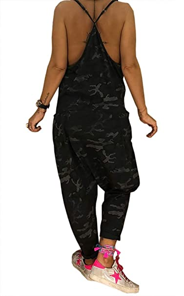 d9d30c3f6d8 DINGANG Women Sexy Sleeveless Spaghetti Strap Camouflage Harem Jumpsuit  with Pocktes Black S