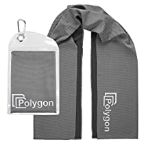 Cooling Towel, Polygon Microfiber Ice Sports Towel, Instant Chilling Neck Wrap for Sports, Workout, Running, Hiking, Fitness, Gym, Yoga, Pilates, Travel, Camping & More, 40 x 12