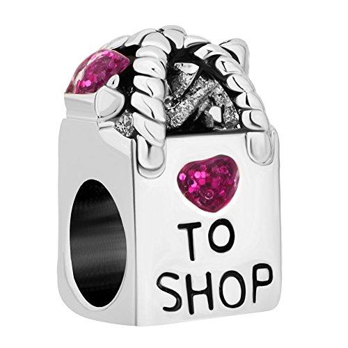- Q&Locket 925 Sterling Silver Antique Shopping Bag Heart to Shop Charm for Bracelet