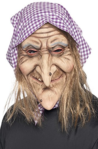 Smiffy's Men's Old Witch Mask, Mask with Headscarf and Hair Attached, One Size, 37194 (Head Witch)