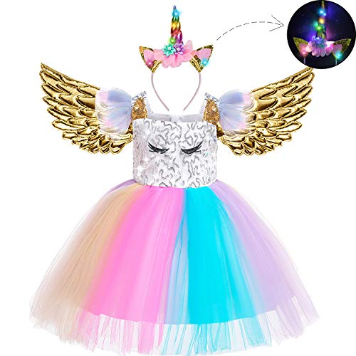 Beauta Unicorn Costume Cosplay Princess Dress up Birthday Pageant Party Dance Outfits Evening Gowns (4-5 Years(Tag 120), Rainbow)]()