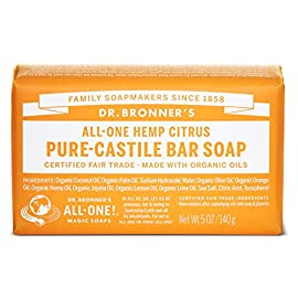 Dr. Bronner's Magic Soaps Pure-Castile Soap, All-One Hemp Citrus Orange, 5-Ounce Bars (Pack of 6) 5 MOISTURIZING LATHER THAT WON'T DRY YOUR FACE, BODY, OR HAIR: Our bar soaps produce a rich lather that won't dry out your skin! Dr. Bronner's is made with only the purest certified organic oils and will leave your skin feeling soft & smooth. MADE WITH ORGANIC OILS THAT ARE GENTLE & EFFECTIVE: We don't add any chelating agents, dyes, whiteners, or synthetic fragrances-only all-natural, vegan ingredients that are gentle, effective, & mild. Use on your face, body, or hair! NO SYNTHETIC PRESERVATIVES, DETERGENTS, OR FOAMING AGENTS: Our Pure-Castile Bar Soap is made with plant-based ingredients you can pronounce-no synthetic preservatives, thickeners, or foaming agents-good for the environment & great for your skin!