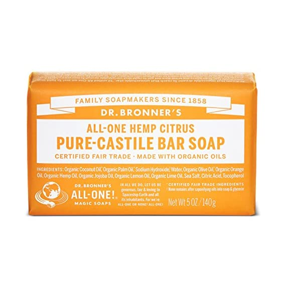 Dr. Bronner's Magic Soaps Pure-Castile Soap, All-One Hemp Citrus Orange, 5-Ounce Bars (Pack of 6) 1 MOISTURIZING LATHER THAT WON'T DRY YOUR FACE, BODY, OR HAIR: Our bar soaps produce a rich lather that won't dry out your skin! Dr. Bronner's is made with only the purest certified organic oils and will leave your skin feeling soft & smooth. MADE WITH ORGANIC OILS THAT ARE GENTLE & EFFECTIVE: We don't add any chelating agents, dyes, whiteners, or synthetic fragrances-only all-natural, vegan ingredients that are gentle, effective, & mild. Use on your face, body, or hair! NO SYNTHETIC PRESERVATIVES, DETERGENTS, OR FOAMING AGENTS: Our Pure-Castile Bar Soap is made with plant-based ingredients you can pronounce-no synthetic preservatives, thickeners, or foaming agents-good for the environment & great for your skin!