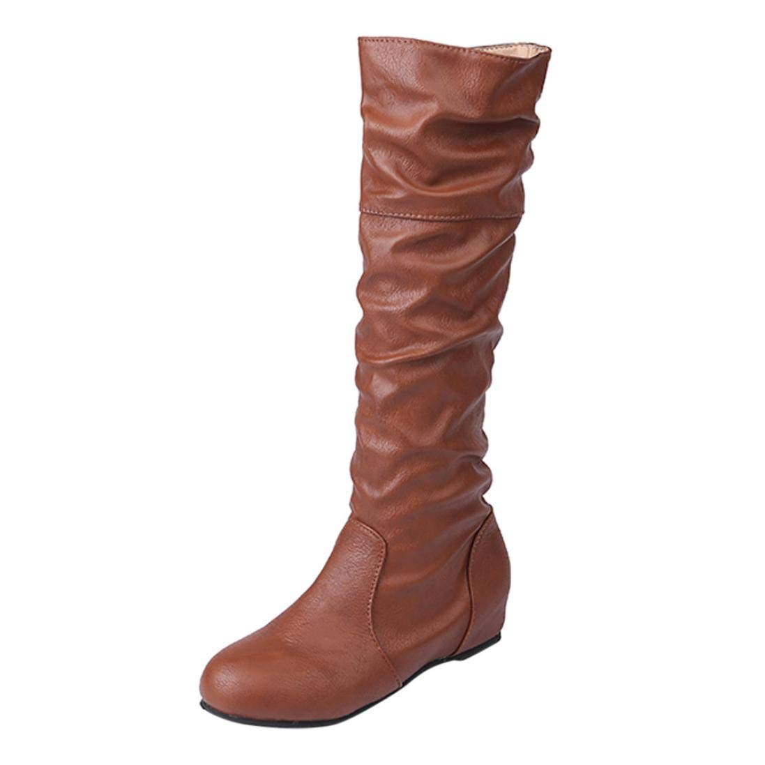 Familizo Bottes Bottes Femme, Plates Hiver Femme, Bottes Longues Pointues Bottes Longues Femme Marron c55dc00 - therethere.space
