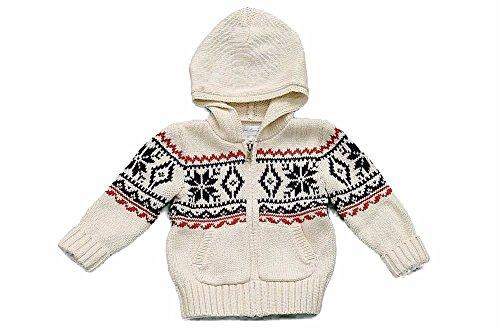 Cardigan Snowflake Baby (Polo Ralph Lauren Infant Boy's Full Zip Snowflake Cardigan Cream Sweater Sz. 9M)
