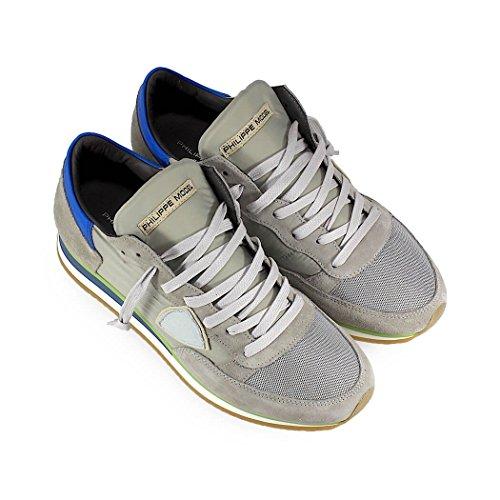 Philippe Model Zapatos de Hombre Zapatilla Tropez Mondial Gris Azul Primavera Verano 2018