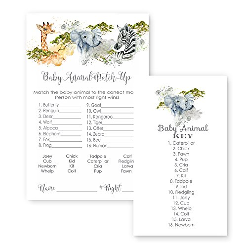 Jungle Animal Match Baby Shower Game Cards (25