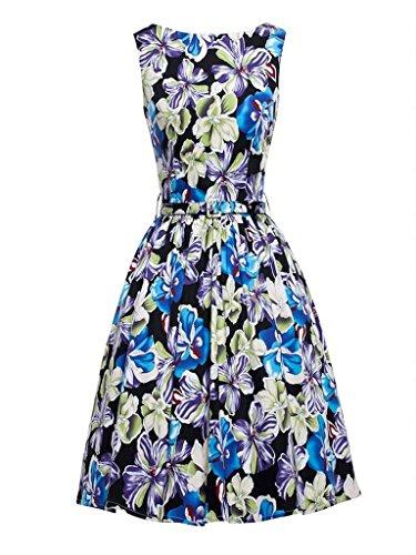 Eyekepper vestido de epoca de los años 50 envuelta en el pecho Peonia impreso oscilacion Azul