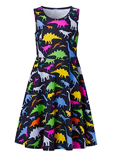 Funnycokid Girls Dinosaur Dress Size 10-13 Teens Sleeveless Casual Dresses Summer Beach Party Swing Sundress Knee Length]()