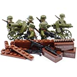 WW2 Heavy Infantry Army Soldiers with Artillery - Military Building Block Model