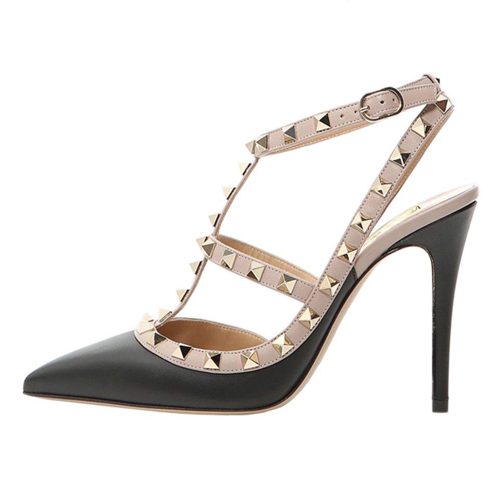 Black(matte) VOCOSI Women's Pointed Toe Studded Ankle Strap Slingback Stiletto Heels Dress Party Wedding Rivets Sandals