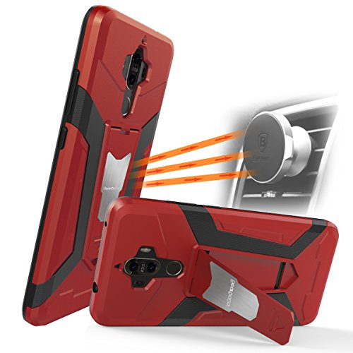Huawei Mate 9 Case ,Newseego [Shockproof] Armor Dual Layer 2 in 1 with Impact Resistant Built-in Kickstand Fit Magnetic Car Mount for Mate 9 Case-Red - Kickstand Mount