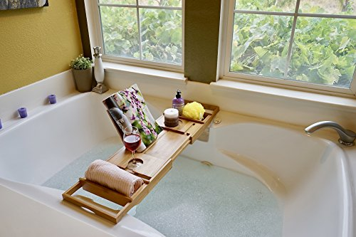 Bed Table & Bathtub Tray -- Combines bamboo bath tub caddy for relaxation and bed tray for productivity into 1 -- Luxurious bathtub caddy for bath accessories wine glass book iPad phone and laptop by Sugarwood Home (Image #5)