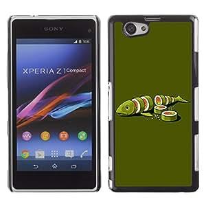 CaseCaptain Carcasa Funda Case - Sony Xperia Z1 Compact / Funny Sushi Fish Illustration /