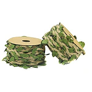 "About 394"" Natural Jute Twine Creative Burlap Leaf Ribbon 5MM with Artificial Green Leaves Perfect Braided Decorated Vine for DIY Craft Party Wedding Home Decoration 21"