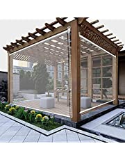 YUMEIGE-Roller Blinds Outdoor Patio Gazebo Balcony Pergola Clear Roller Shades, Waterproof Large PVC Exterior Roll Up Blinds with Fittings, 80cm/100cm/120cm/140cm/160m Wide Rainproof