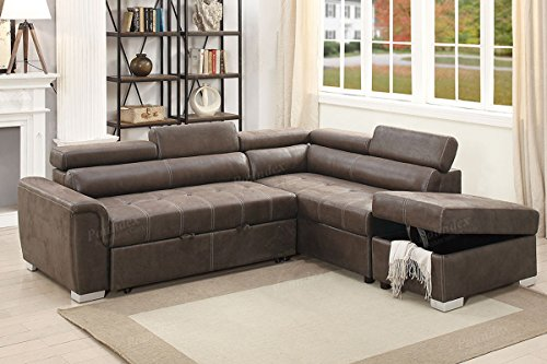 3Pcs Modern Dark Coffee Breathable Leatherette Convertible Sectional Sofa Set with Flip Up Headrest