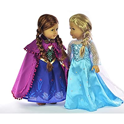 Ebuddy Sparkle Princess Dress Clothes Fits 18 inch Dolls Includes American Girl,Journey Girl, Our generation etc by ebuddy