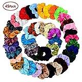 Chloven 45 Pcs Hair Scrunchies Velvet Elastics Bobbles Hair Bands Scrunchy Hair Ties Ropes Scrunchie for Women Girls Hair Accessories- 45 Assorted Colors Scrunchies