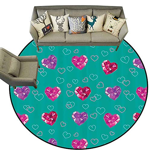 - Small Round Rug CarpetTeal Decor Crystal Hearts Gemstone Figures Love Valentines Day Celebrating Romantic Print Non Slip Rug D51 Red Fuchsia Teal