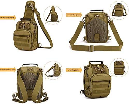 Yakmoo Sac /à Bandouli/ère en Nylon Tactique Militaire Sac de Poitrine Molle Syst/ème Sac dEpaule Imperm/éable avec Port USB /à lAir Libre