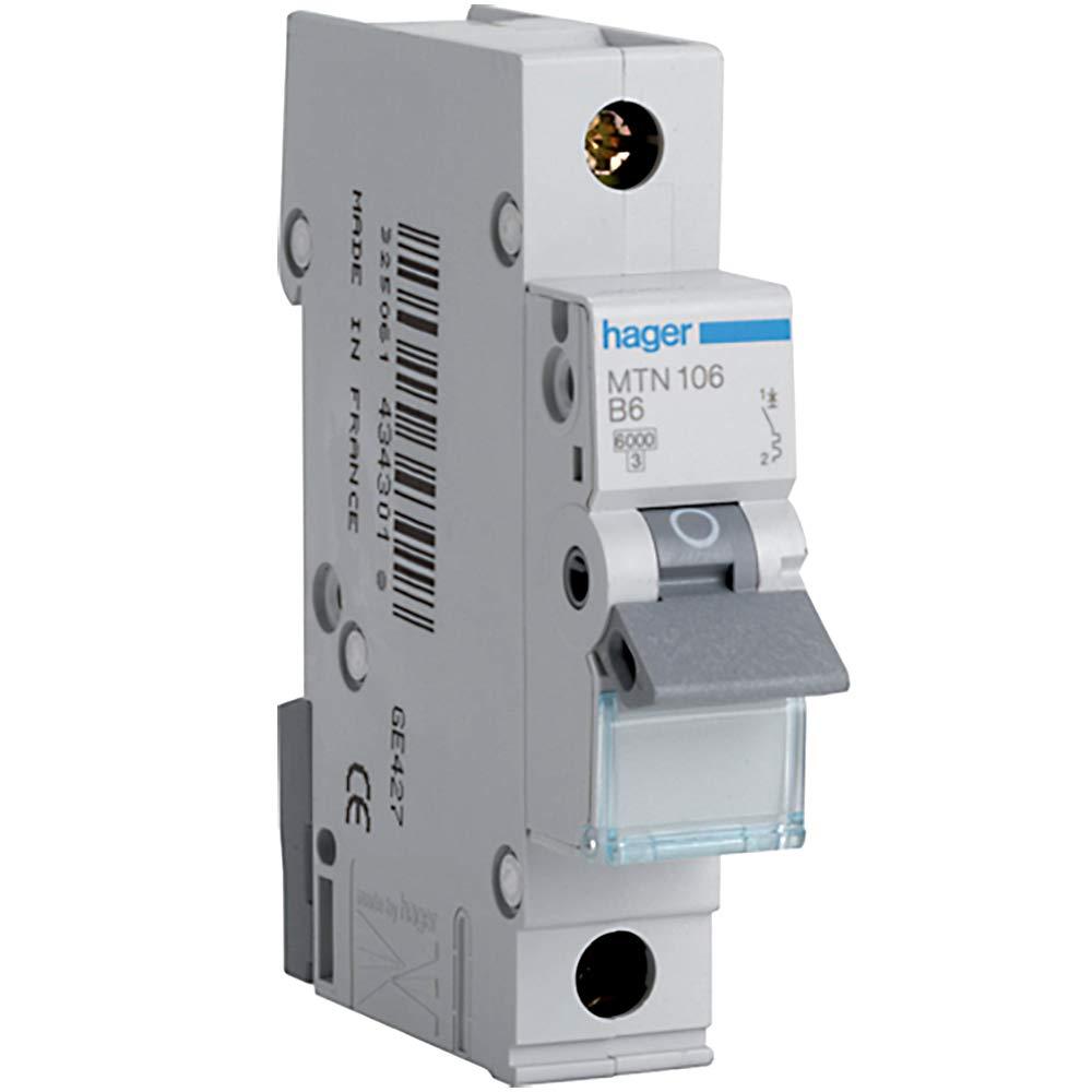 Hager MTN106 Miniature Circuit Breaker, 1 Pole, 1 Module, Type B, 6 kA Breaking Capacity, 6 A Current